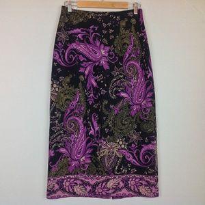 Briggs Maxi Skirt Womens 8 Purple Paisley Boho